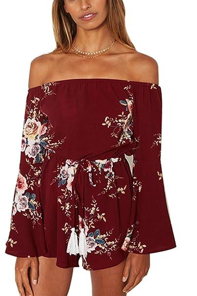 Sentao Mujer Elegante Monos Off Shoulder Jumpsuits Shorts Floral Impreso Rompers XL