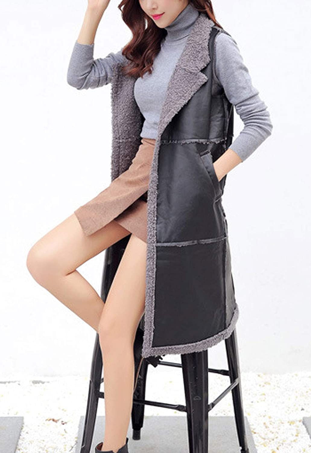 Flygo Womens Sherpa Lined Mid-Long Cool Sleeveless PU Leather Vest