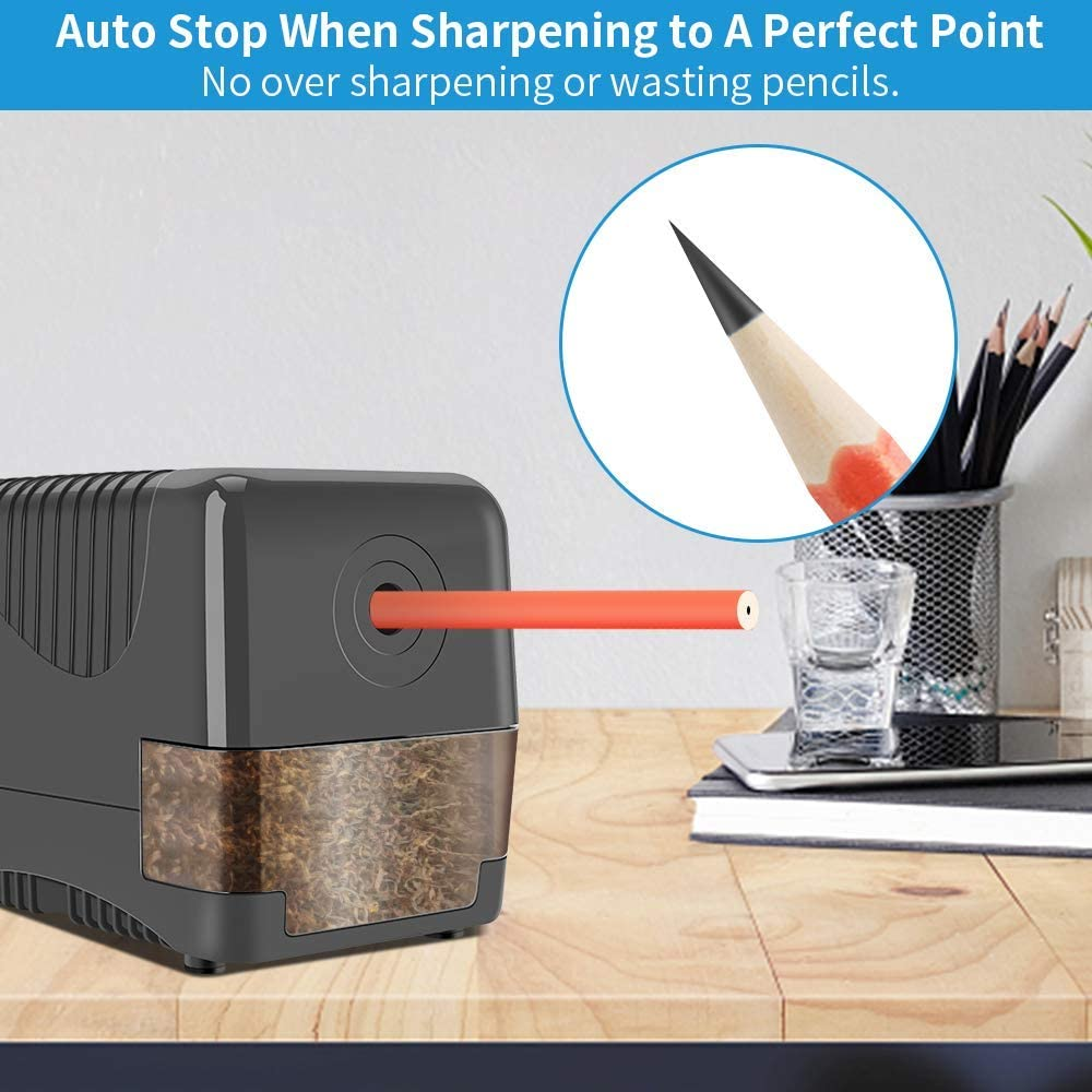Electric Pencil Sharpener Heavy Duty, Pencil Sharpener Plug In, Auto Stop Classroom Pencil Sharpener, 10000 Times Sharpening for Heavy Use, 1s Fast Sharpen, Super Sharp for 6.5-8mm No.2 Pencils, Gray : Office Products