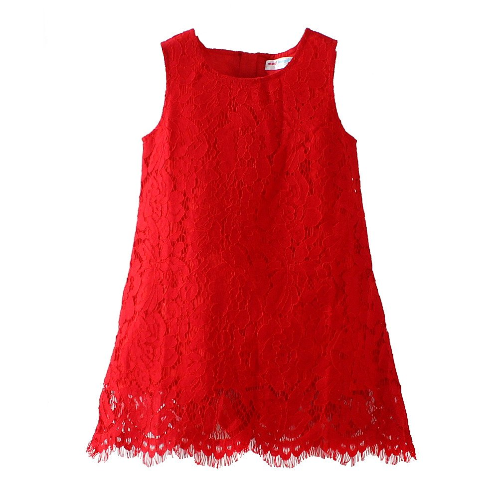 Mud Kingdom Bright Red Elegant Girls' Gift Sleeveless Dresses ZQ0355