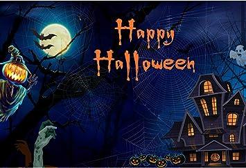 YongFoto 12x8ft Halloween Vinyl Backdrop Bat House Ghost Grimace Pumpkin Scary Night Moon Photography Background Party Theme Banner Family Home Decor Poster Portrait Photo Shoot Studio