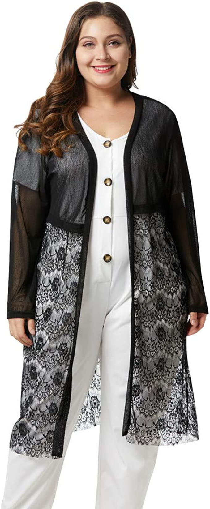 KLJR Women Casual Solid Sunscreen Plus Size Cardigan Coat