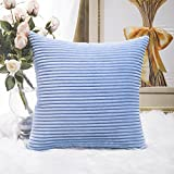 HOME BRILLIANT Supersoft Square Textured Throw Pillow Cover Euro Sham Decorative for Bed, Baby Boy Blue, 26 x 26 inches(66cm)