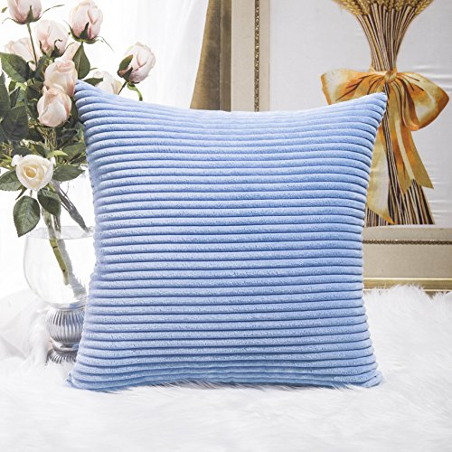 Home Brilliant Decor Solid Supersoft Corduroy Handmade Decorative Velvet Throw Pillow Cushion Cover With Zipper for Bed, Light Blue, 18