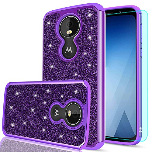 Case with HD Screen Protector for Girls Women,LeYi Fashion Sparkly Bling Dual Layer Hybrid Shockproof Protective Phone Cover Case for Motorola G Play (6th Generation) TP Purple ()