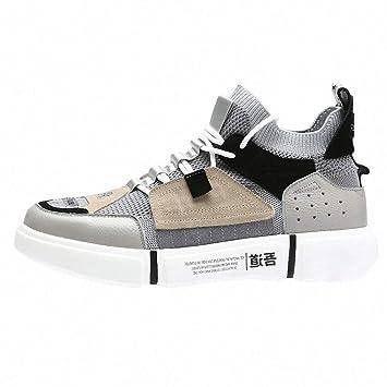 Danliker Zapatillas de Hombres Malla Transpirable Anti Cuero Cuero Zapatillas Retro de Estilo Chino Calcetines Casual,Gris,43 Macho: Amazon.es: Deportes y ...