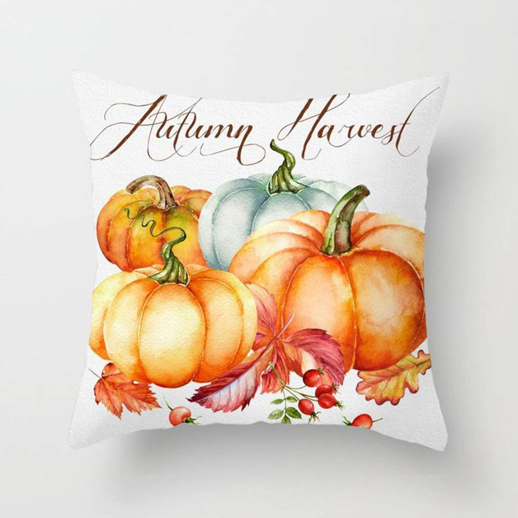 HappyL Cushion Cover, Pillowcase, Fall Halloween Pumpkin Pillow Case Waist Throw Cushion Cover Sofa Home Decor 5pcs/Set (Color : C) by HappyL