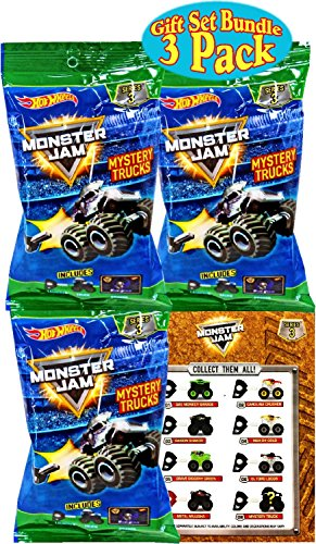 Hot Wheels Monster Jam Mini Mystery Trucks Series 3 Blind Bags Gift Set Party Bundle - 3 Pack