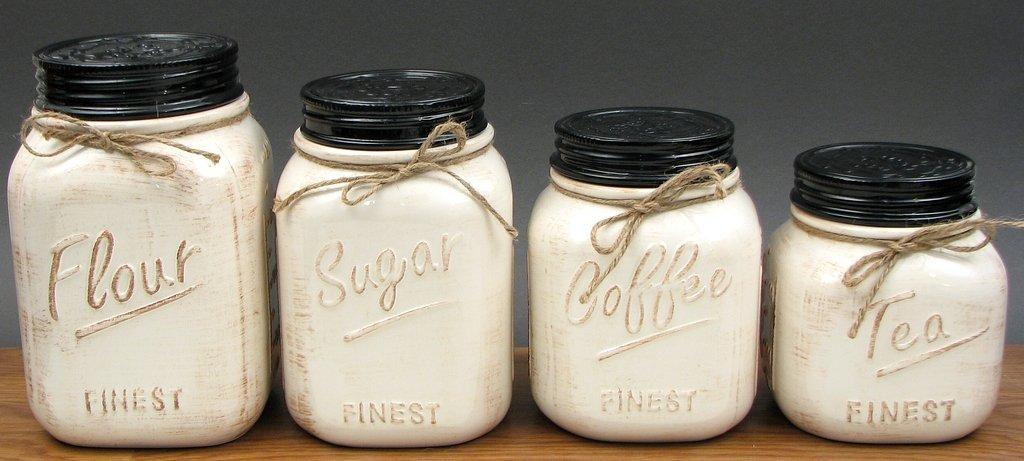 amazon com white ceramic 4 pc white canister set rh amazon com blue mason jar kitchen canisters mason jar kitchen canister sets