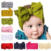 Baby Big Bow Head Wraps, Turban Knotted Hair Bows Headbands Stretchy Hair Bands 9PCS for Toddlers Big Girls by JIAHANG