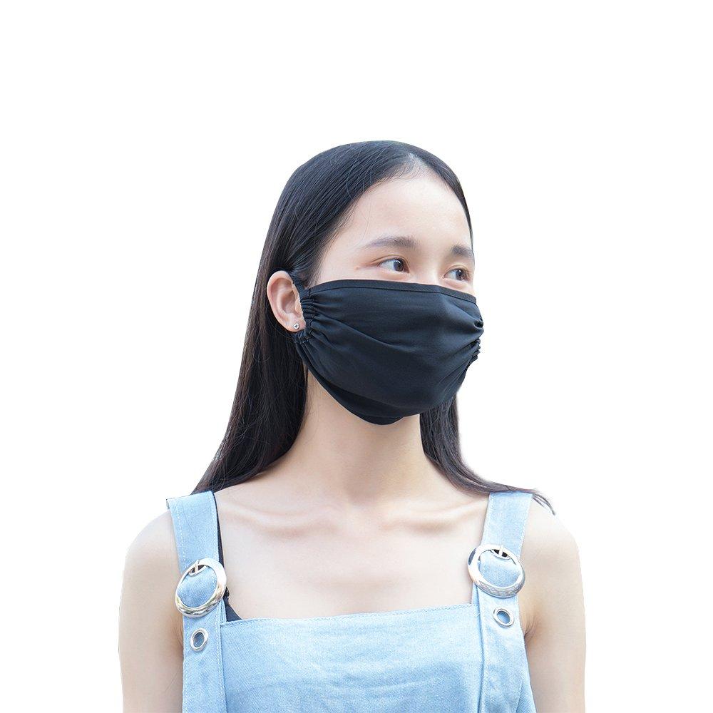 FMS Unisex Seide Mund Gesichtsmaske Wiederverwendbar Anti-Staub Mundschutz Antibakterielle Anti-Beschlag Mundschutzmasken Schwarz