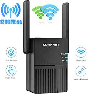 WiFi 1200Mbps High Power Range Extender   Dual Band Wireless Signal Booster & Repeater   1200Mpbs   5G   WPA-PSK / WPA2-PSK/WPA / WPA2 Security Encryption   No Cable Required for Initial Setup