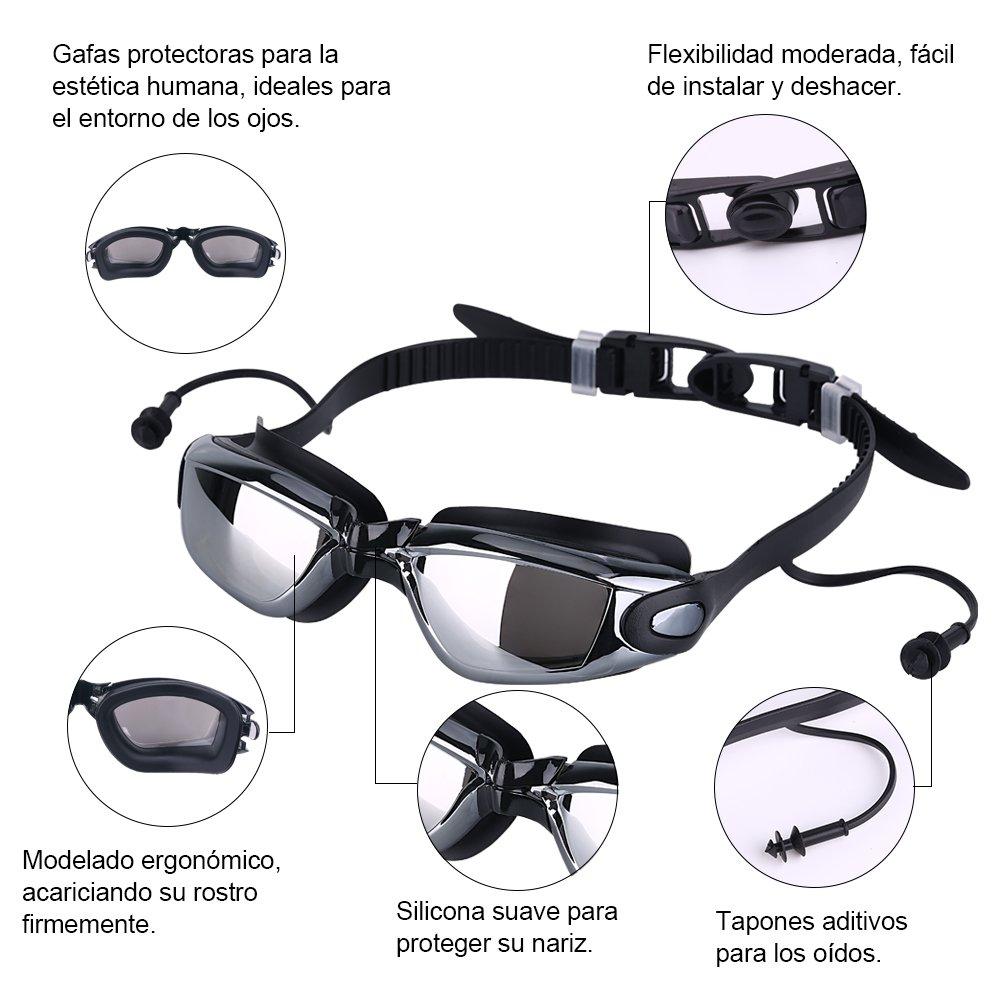2548a8f9cebd VPCOK Gafas de Natación Impermeable UV Anti-Niebla Deporte Profesional  Ajustable para Hombres Mujeres Gafas Deportivas con Auriculares