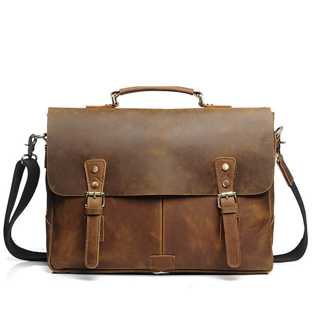 Briefcase Home Vintage Leder Breifcase Herren Umhängetasche Große Kapazität Handtasche