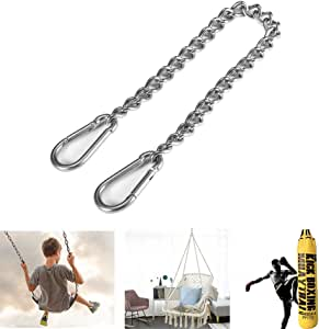 BLADOPIA Stainless Steel Hanging Chair Chain with Two Carabiner, 300 lb Heavy Duty Porch Swing Hammock Chain Kit, Punching Bag Hanging Hardware Hanger, Chains Hooks for Hamock, Rope, Tire, Tree Swings