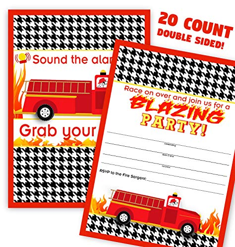 Fireman Party Invitations - Firefighter Party Invitations - 20 Invitations + 20 Envelopes - Double Sided - Firehouse Invitations