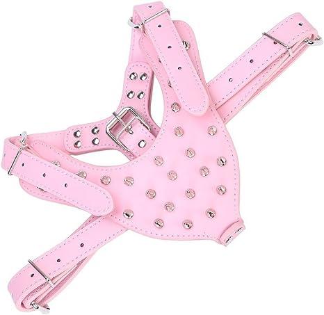 rosa UEETEK Pet Dog Harness Spike con borchie PU cane bretellaggio per Bulldog Pitbull Terrier