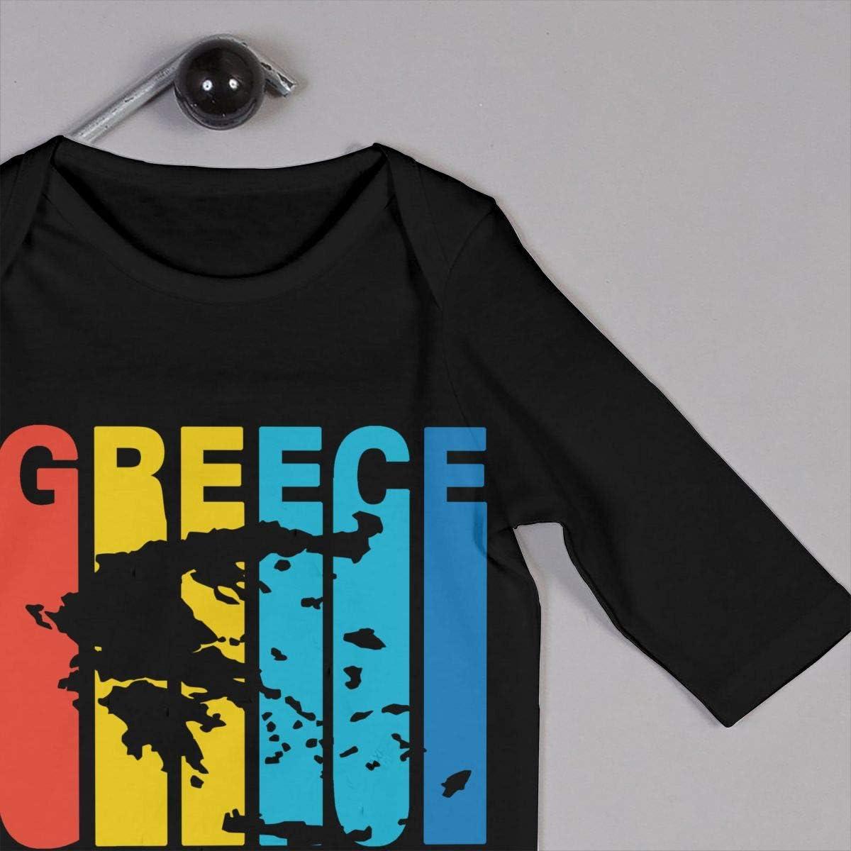 YELTY6F Greece Greek Retro 1970s Style Printed Newborn Infant Baby Boy Girl Bodysuit Long Sleeve Rompers Black
