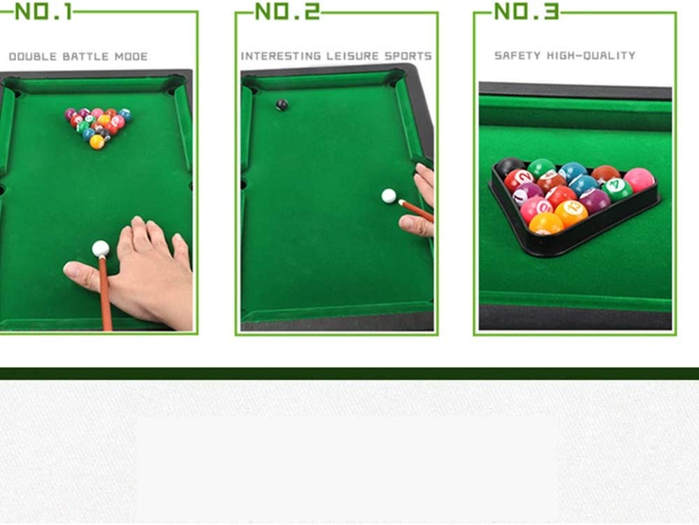 Billar Snooker plegable Con mini bolas de piscina Cue Sticks mesa de billar Mesa Juguete for adultos niños Mini mesa de billar de mesa de plástico en miniatura Pool Juego Set Los