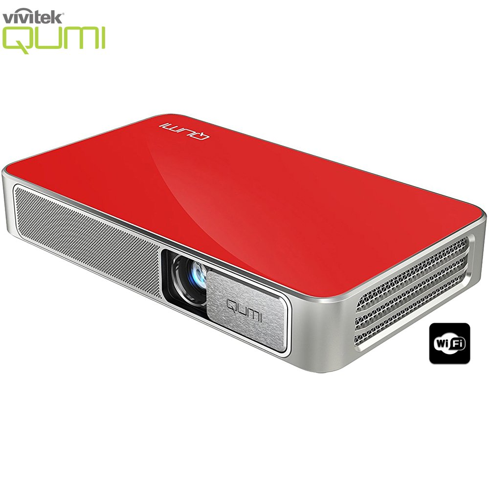 Vivitek Qumi Q3 Plus 500 Lumen Ultra HD 720p Pocket DLP Projector with Wi-Fi Red - (Renewed)
