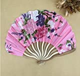 Pink Summer Style Folding Hand Held Fan Fabric Floral Wedding Dance Favor Pocket Fan 1Pcs