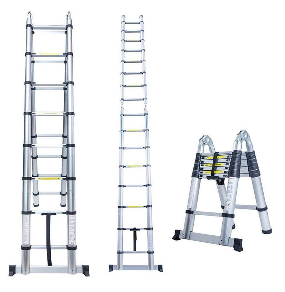 Nlyefa 16.5Ft Aluminum Multi Purpose Ladder Telescoping Telescopic Extension Folding A Frame Shape Steps Ladder