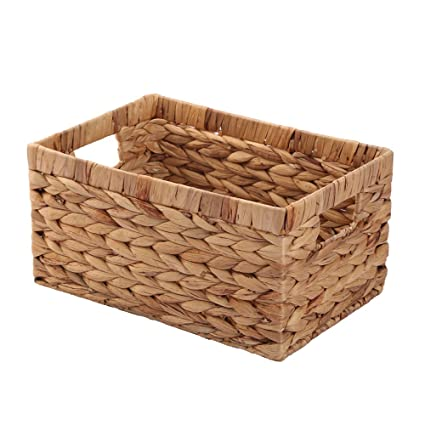 Genial Basket Box Woven Natural Water Hyacinth Rectangular With Handle,Kingwillow.( Small)