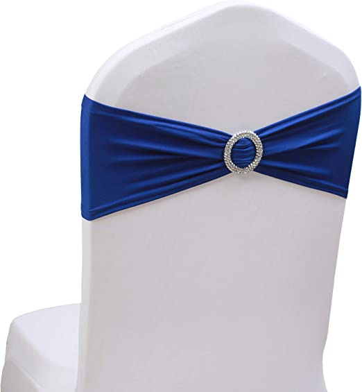 25//50//100 Spandex Chair Sashes Bows Elastic Bands Wedding w//Buckle Slider Sashes