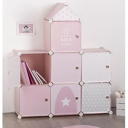Grand Meuble De Rangement Chambre.Meuble De Rangement Colonne Forme Chateau Coloris Rose Gris Et Blanc