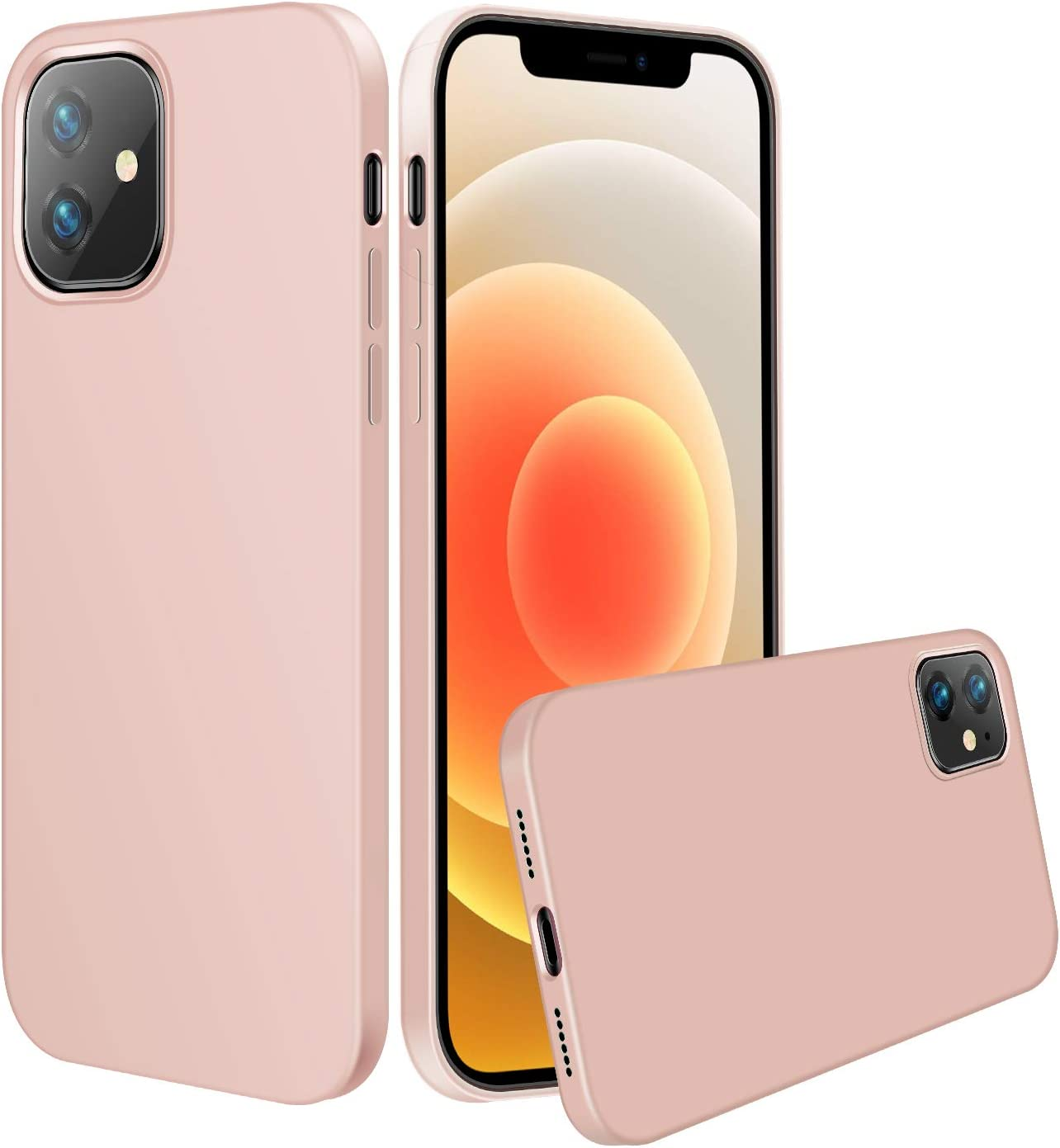 LZEB Silicone Case Compatible with iPhone 12 Mini Case 5.4 inch 2020, Liquid Silicone Phone Case (with Microfiber Lining) Designed for iPhone 12 Mini (Pink Sand)