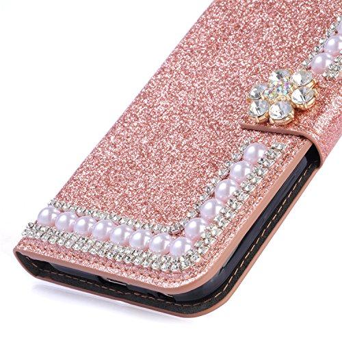Brillante Funda para Samsung Galaxy J7 2017 J730 Brillo Cuero Cartera, Girlyard Elegante Bling Glitter 3D Diamante Strass de Mariposa Patrón Cubierta Carsaca de Piel Flip Wallet Case Cover Libro Sopor Pearl Oro Pearl Rosa