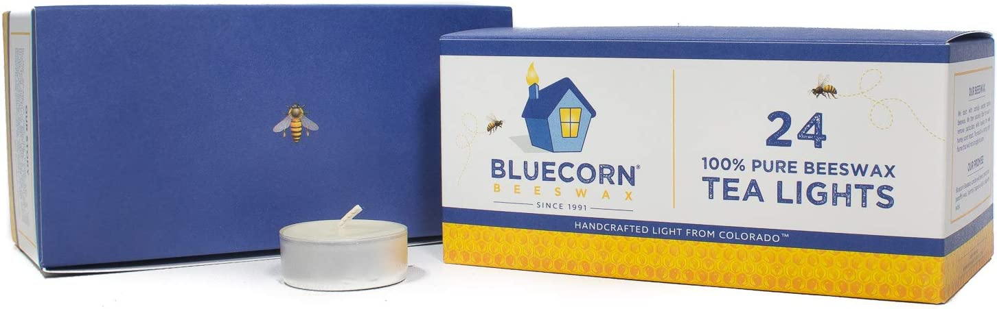 Raw, 6-Pack Bluecorn Beeswax 100/% Pure Beeswax Tea Lights Metal Cups