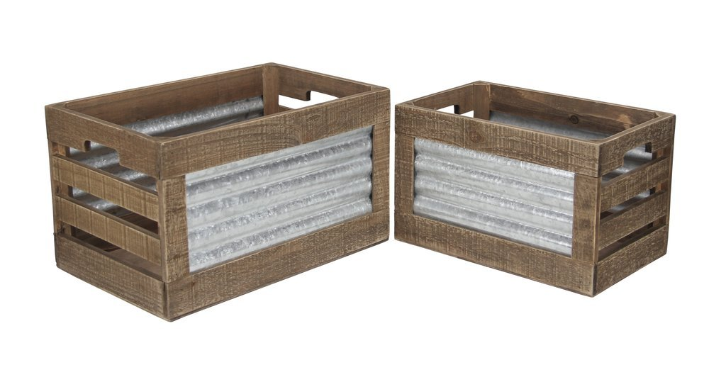 Cheung's Rectangular Wood Crate with Ridged Metal Accent - Set of 2 Cheungs 1059-5168-2