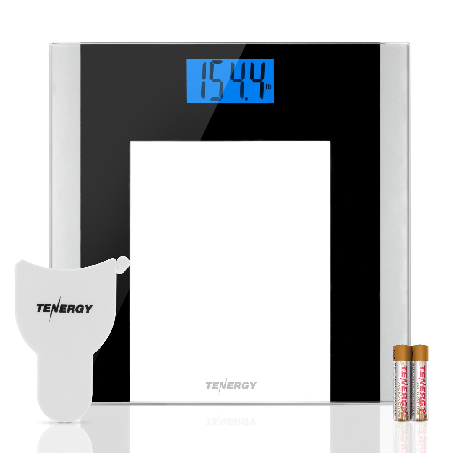 Tenergy Body Weight Scale with Step-On Technology, Tempered Glass Platform w/Backlit LCD, High Precision Digital Bathroom Scale, 400-Pound Capacity, Bonus Body Measuring Tape & Batteries Included by Tenergy