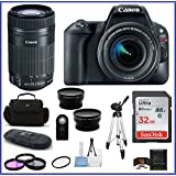 Canon EOS Rebel SL2 DSLR Camera with 18-55mm Lens + 55-250mm f/4-5.6 STM Lens Bundle: Includes: 32GB SDHC Class 10 Memory Card + Auto Power Flash + 58mm Telephoto & Wide Angle Lenses and more