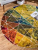 Unique Loom Estrella Collection Colorful Abstract Multi Round Rug (6′ x 6′) Review