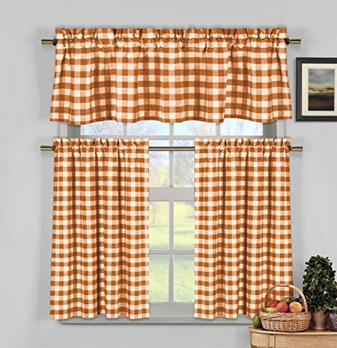 3 Piece Plaid, Checkered, Gingham 35% Cotton Kitchen Curtain Set with 1 Valance and 2 Tier Panels (Orange) (Plaid Kitchen For Curtains)