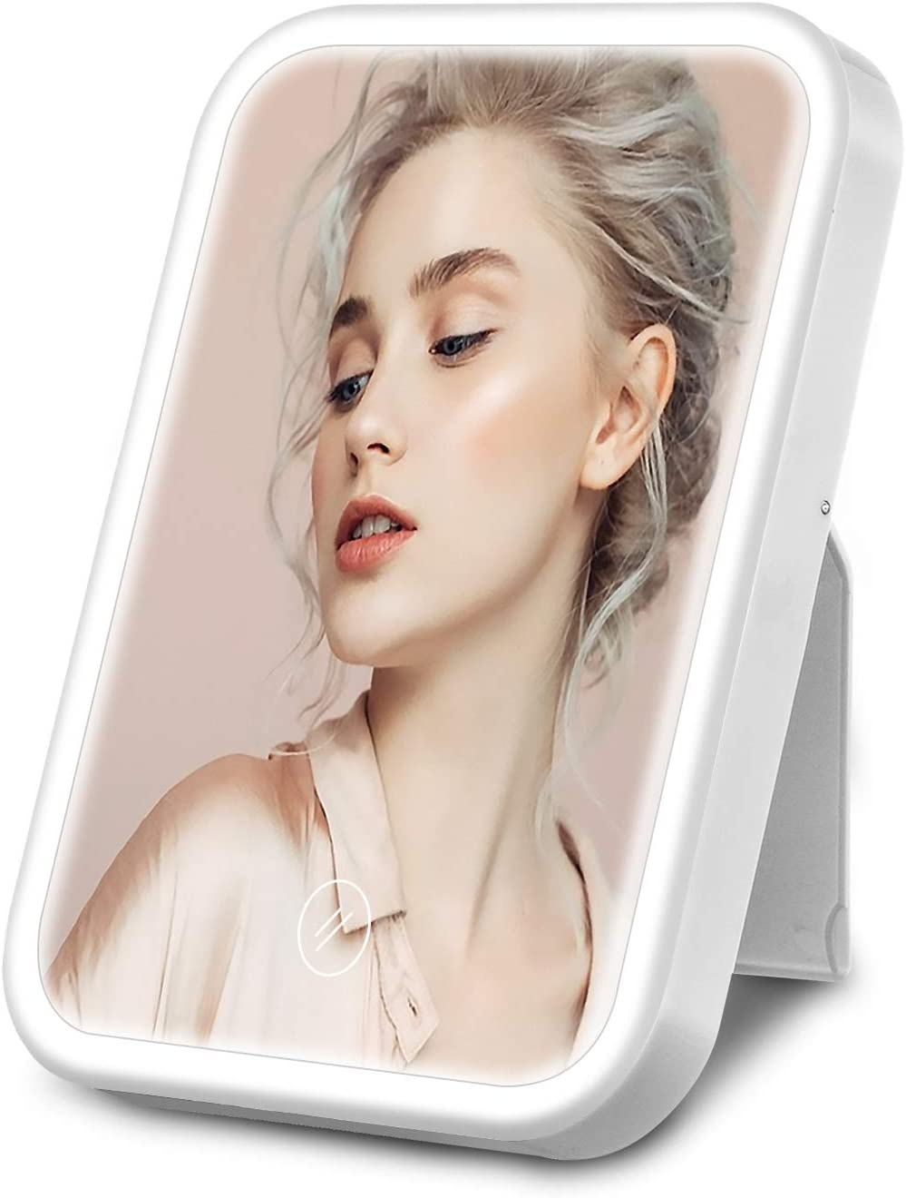 HOCOSY Espejo Maquillaje con Luz, Espejo tocador de Mesa con LED luz con 3 Modos Lluminación, Espejo Cosmético, Carga con USB o batteria, Pantalla Táctil, Adjustable