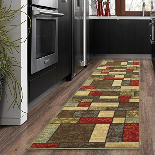 Ottohome Collection Multi Color Contemporary Boxes Design Non-slip Runner Rug (2'7''x10') 31 Inch By 120 Inch Hallway - Multi 2'6 10' Area Inch Rug X