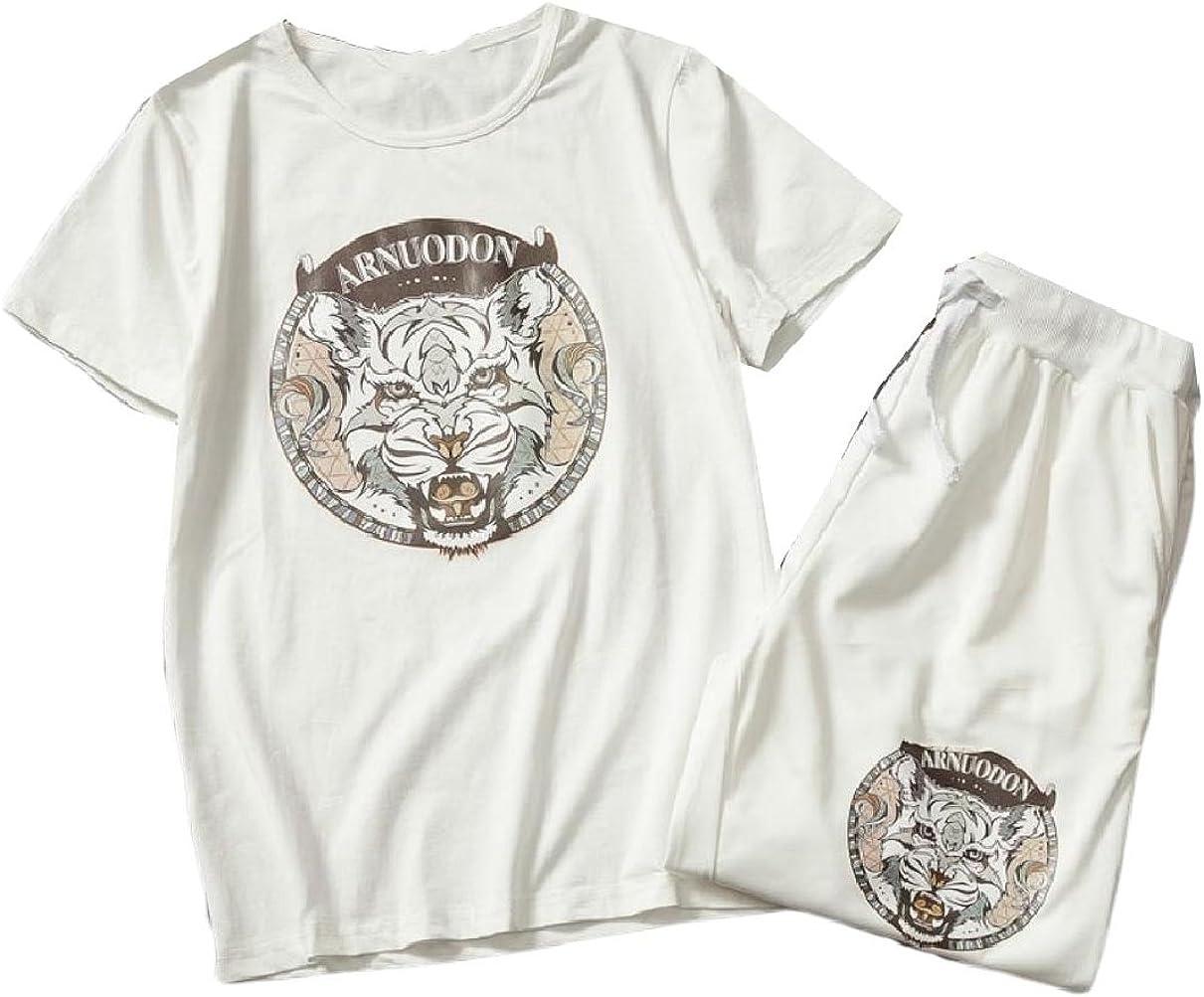 Howme Men 2 Piece Set Half Pants Plus-Size Stylish Tiger Tracksuit Outfit