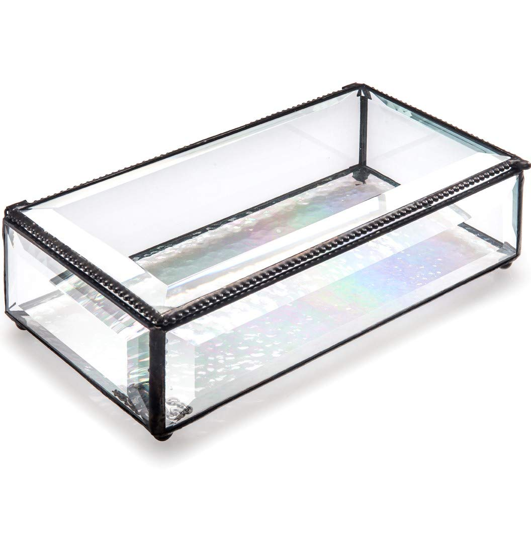 J Devlin Box 830 Large Clear Beveled Glass Jewelry Keepsake Box Home Decor Display
