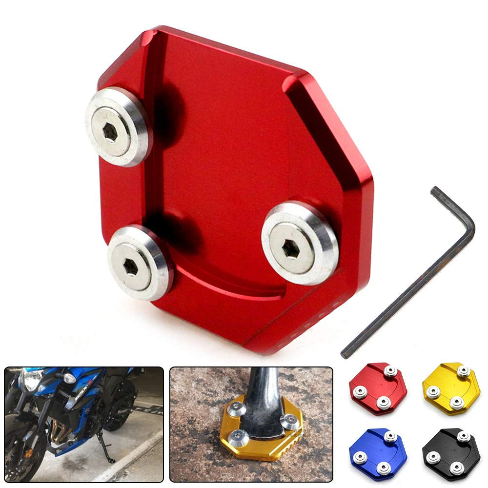 ShiningXX Motorcycle Side Stand Enlarger CNC Kickstand Enlarge Plate Extension Pad for Suz uki GSX750 11-16 GSX-S1000F 2016 blue