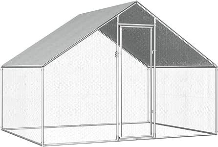 Goofly Outdoor Chicken Cage Walk-in Chicken Coop Rabbit Habitat Cage Galvanised Steel Hen Run House 2.75x2x2 m