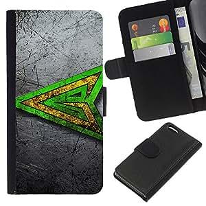LECELL--Cuero de la tarjeta la carpeta del tirón Smartphone Slots Protección Holder For Apple Iphone 5C -- Verde superhéroe sesión --
