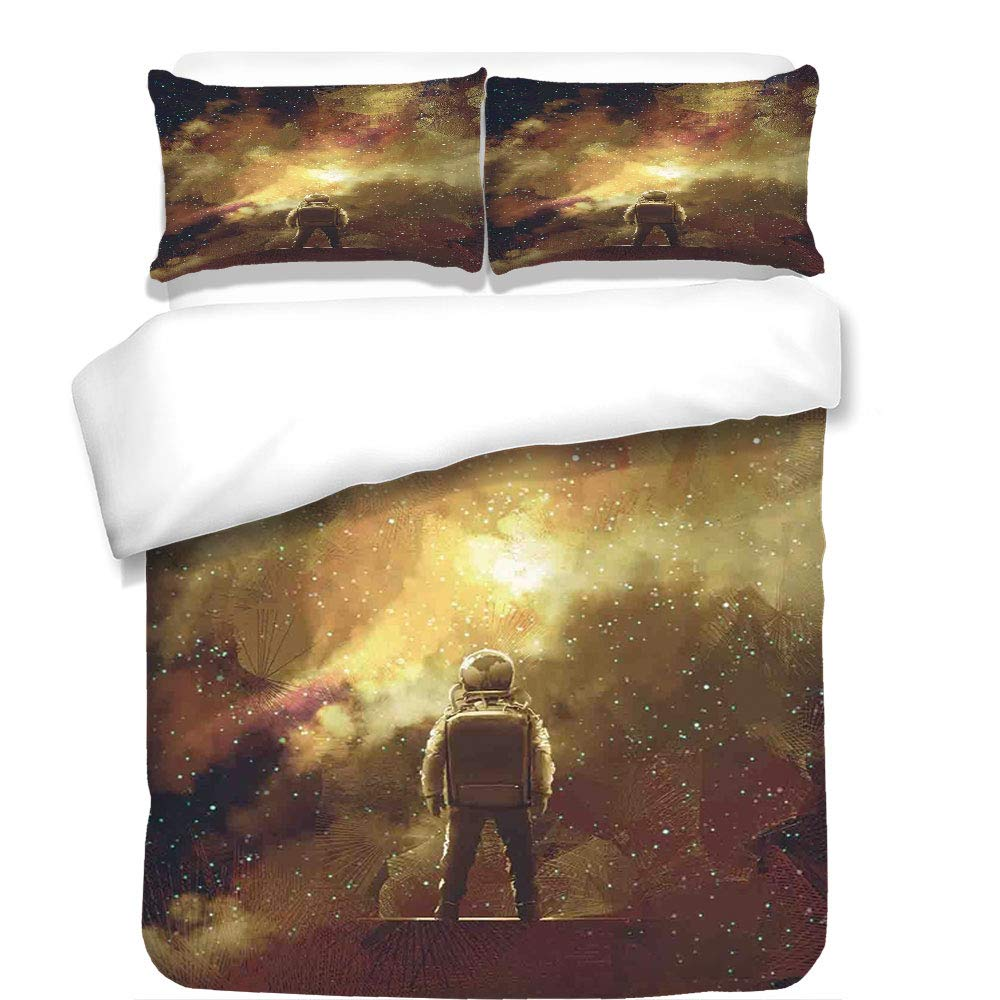 iPrint 3Pcs Duvet Cover Set,Fantasy Art House Decor,Cosmonaut Boy Standing Against Cosmos Nebula Themed Solar Artprint,Tan Black,Best Bedding Gifts for Family/Friends