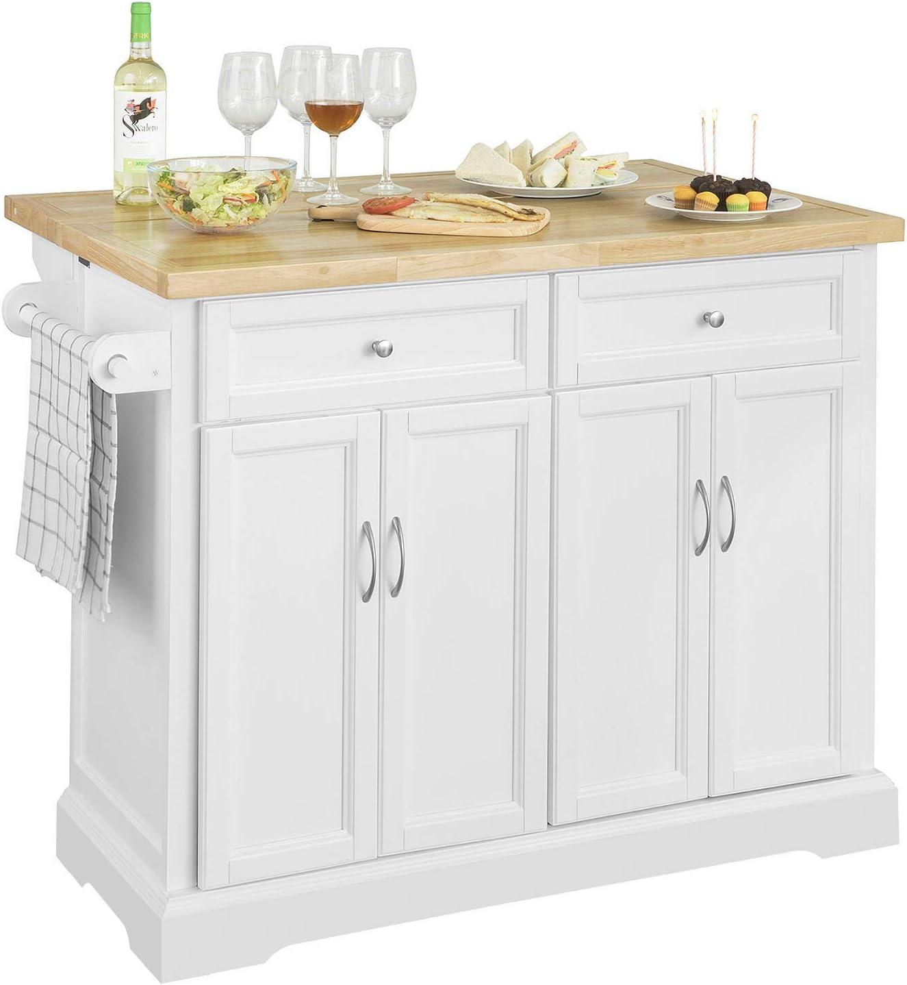 SoBuy FKW71-WN,Carrito de Cocina con Piso,con Tablero Extensible,L115 x P46 x H92cm,ES (Blanco)