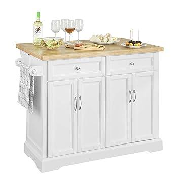 Credenza Cucina Con Piano Di Lavoro.Sobuy Credenza Legno Carrello Cucina Piano Lavoro Cucina Piano In Legno Di Hevea E Allungabile Fkw71 Wn