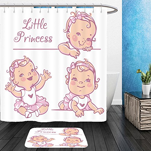 Vanfan Bathroom 2 Suits 1 Shower Curtains &  1 Floor Mats set with cute little baby girl with curly hair wearing bow pink tutu portrait of happy smiling 421059058 From Bath room
