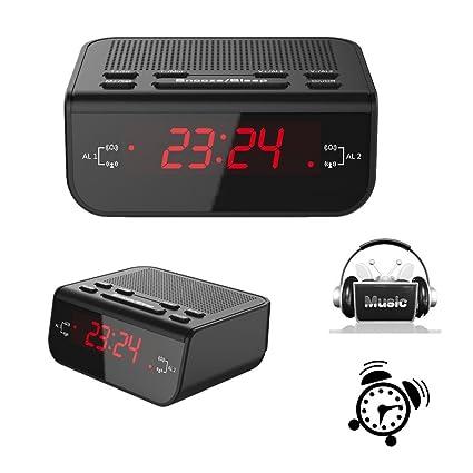 Reloj despertador digital con LED Pantalla (Fácil de leer, Batería de Reserva, Radio