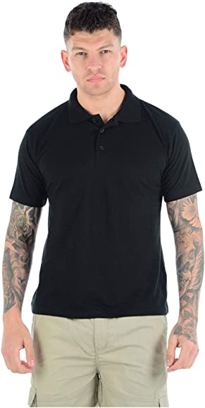 Plain Casual Polo Shirt Active Sports Classic Collared Top  Mens Size